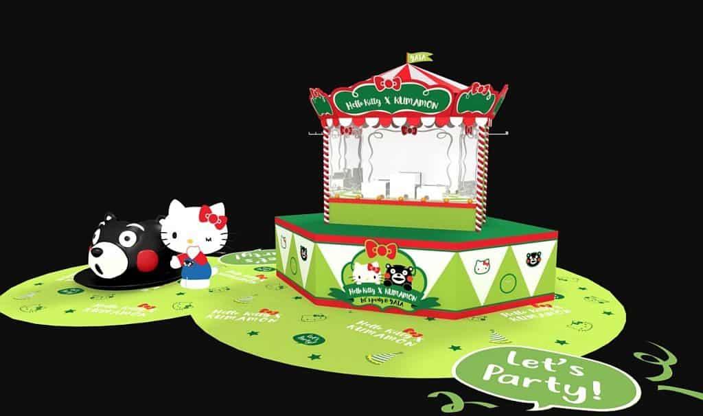 Hello Kitty × KUMAMON 歡樂小帳蓬,穿插於展場間滿載聯乘商品。