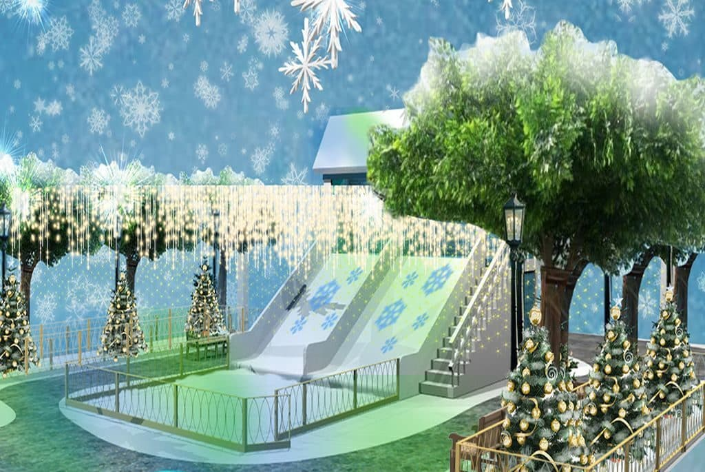 打卡位四:漫遊瀑布燈海聖誕林蔭大道 巨型6米高聖誕樹。