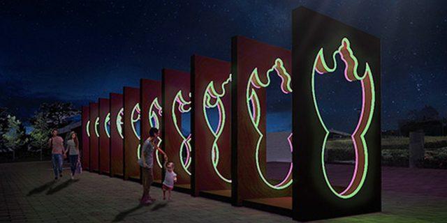 國際燈光藝術展展品:蝠鼠吊金錢(築夢.社,香港)