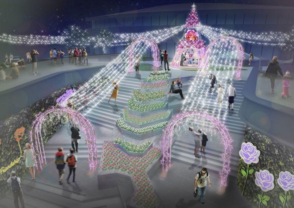晚上水晶元素裝置配以超過 6 萬顆 LED 燈,為新都會廣場締造逾 4 萬平方呎華麗迷人燈海,營造日與夜不同風格的浪漫氛圍。