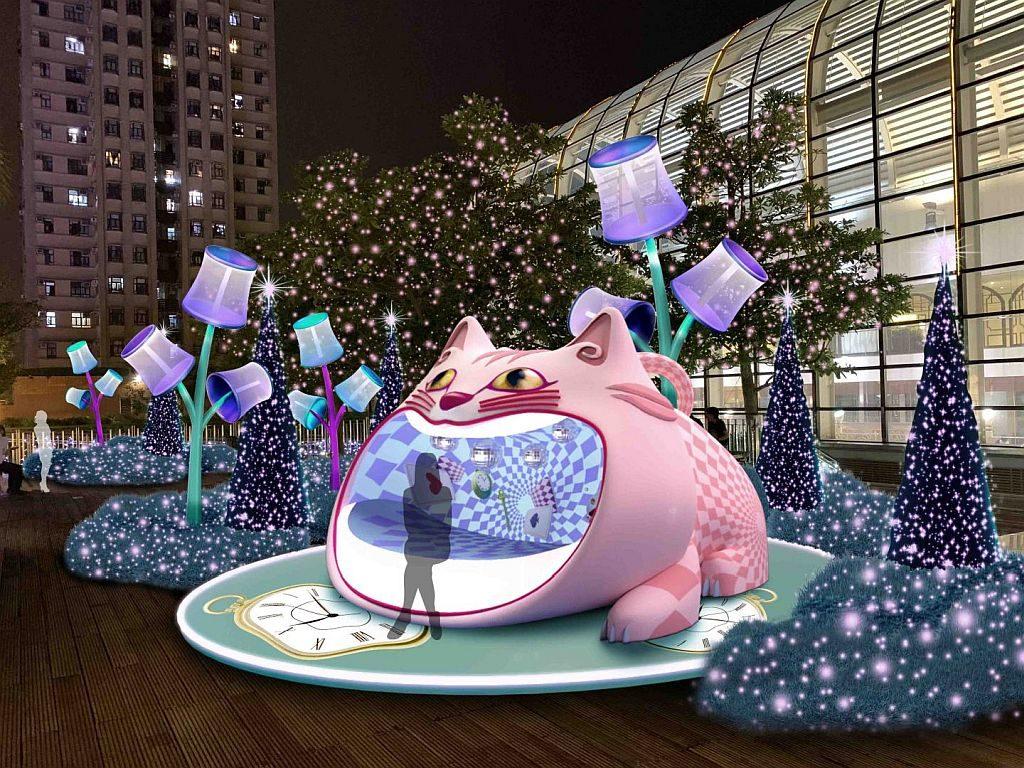 沙田新城市廣場空中花園將以璀璨燈光結合唯美裝置,打造觸動少女心的大咀貓咪。