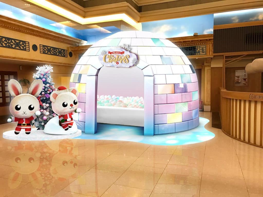 杏花新城:暖上冬日聖誕 悅兔及小熊在冰屋迎接大家。