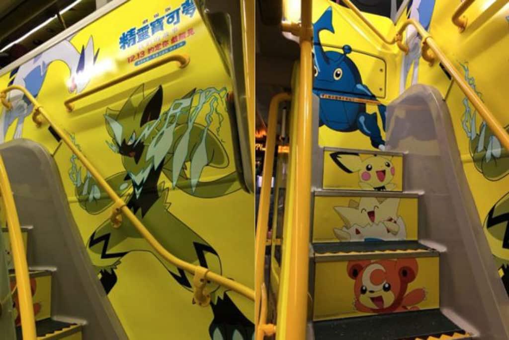 精靈寶可夢期間限定主題巴士 樓梯都貼上小精靈圖案。