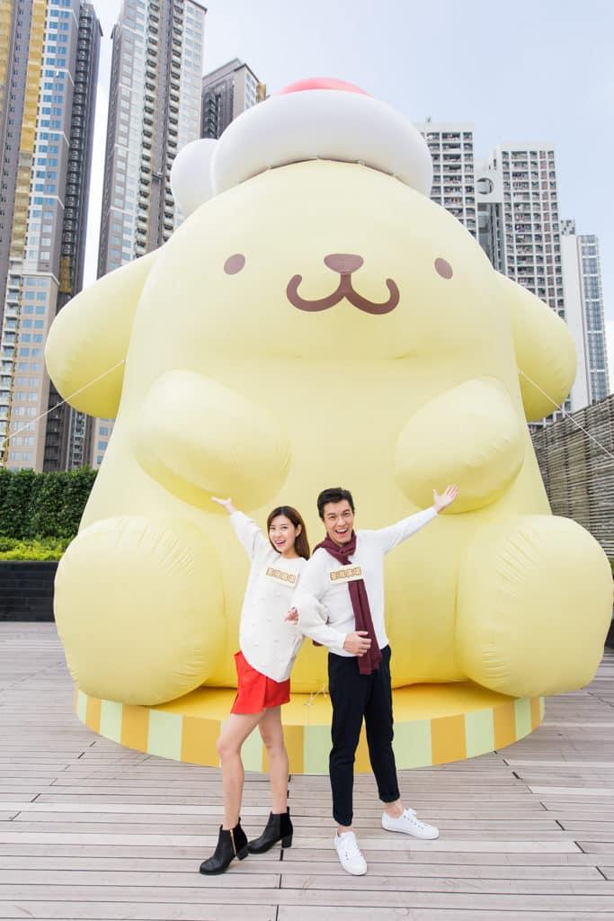 荃灣廣場Pompompurin部屋聖誕派對 16 呎高巨型戶外充氣 Pompompurin 布甸狗 。
