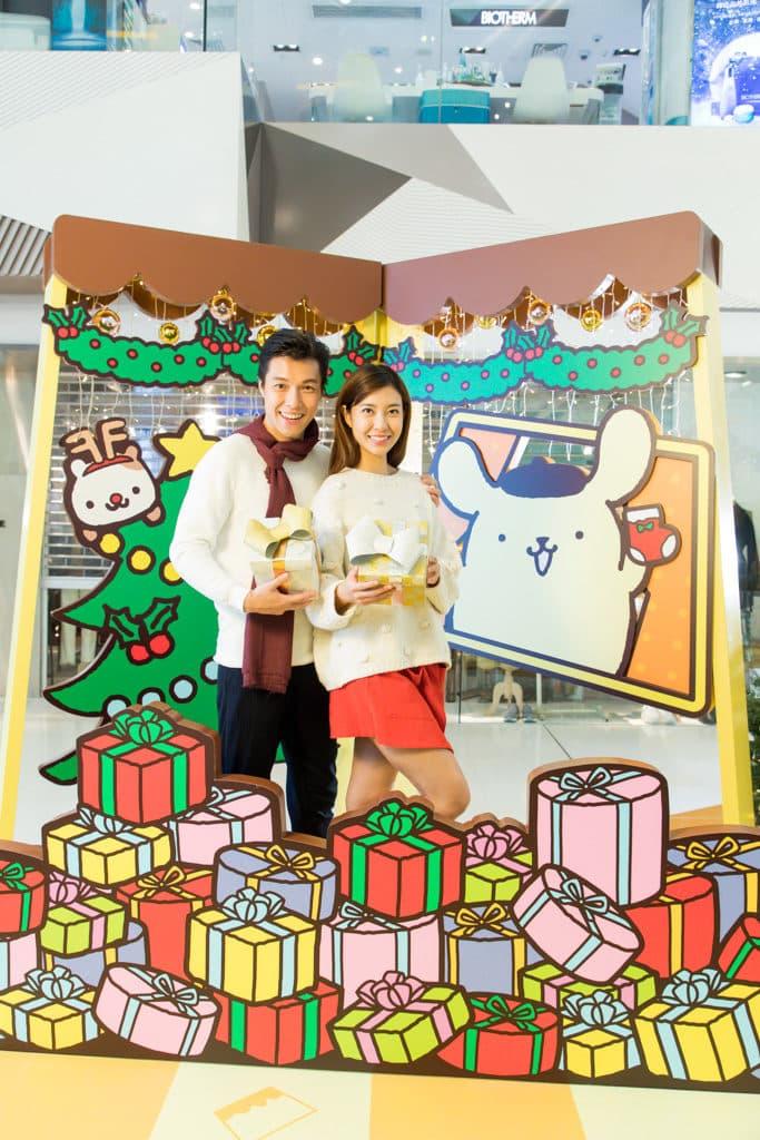 荃灣廣場Pompompurin部屋聖誕派對 Pompompurin 布甸狗七彩繽紛禮物山。