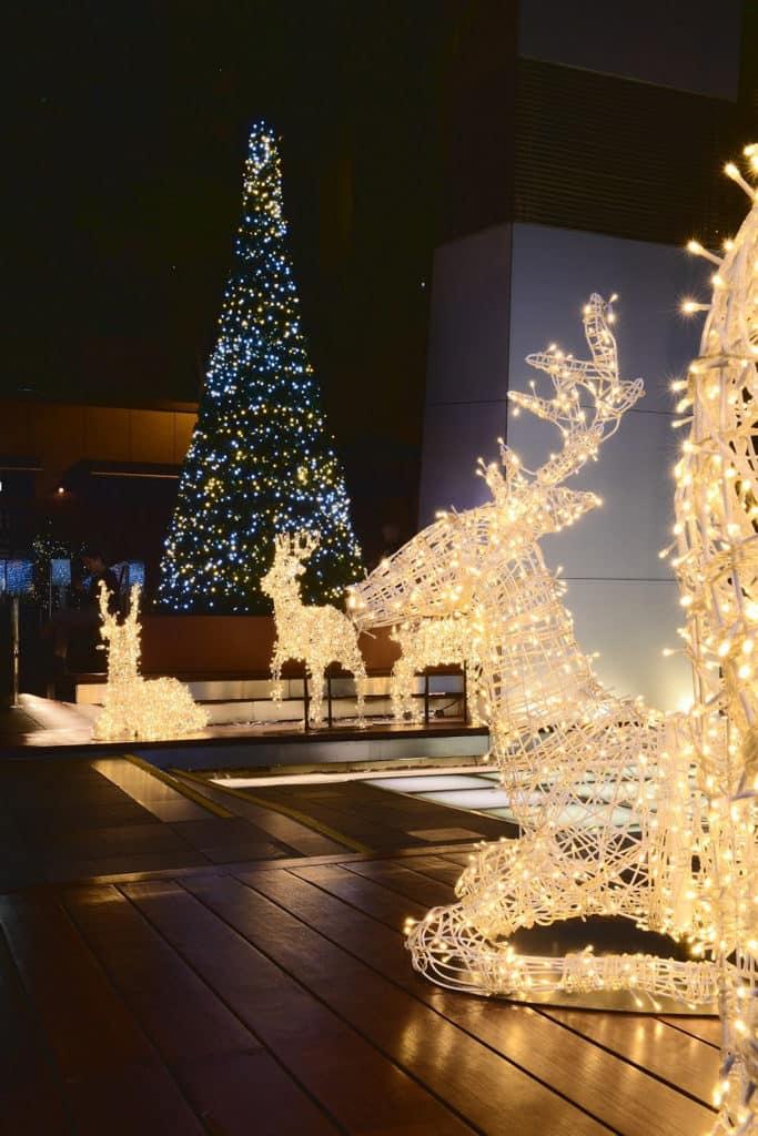 灣仔星街聖誕:聖誕馴鹿華麗閃爍裝飾 灣仔星街小區佈置以馴鹿為主題的聖誕裝飾。