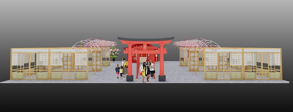 「D·PARK遊世界 日本新年祭」重點打卡位模仿日本京都伏見稻荷大社的千本鳥居。