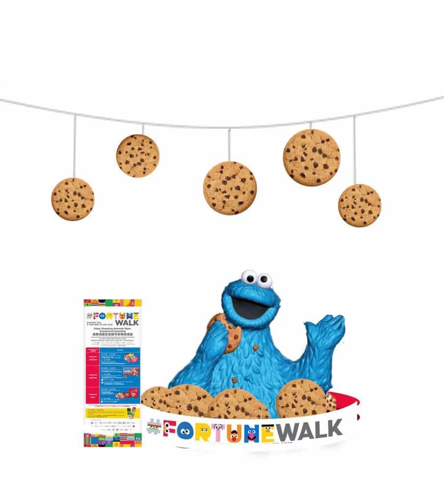 恒隆地產商場:芝麻開運『型』新春 Cookie Monster 在食街準備了巨型開運曲奇。