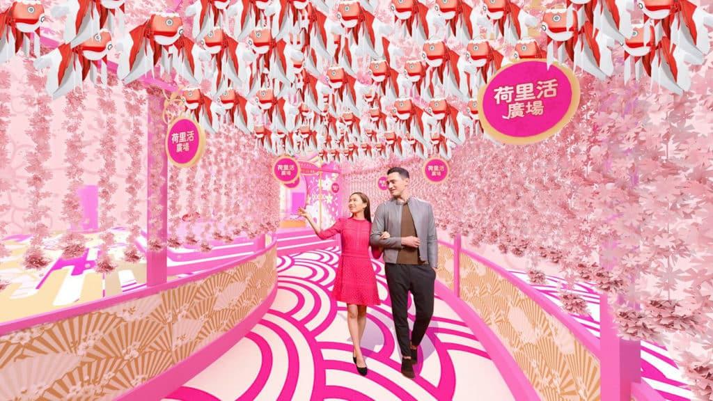 農曆新年活動2019|荷里活廣場:柳井金魚春日祭 場內掛滿超過 200 個手製金魚燈籠。