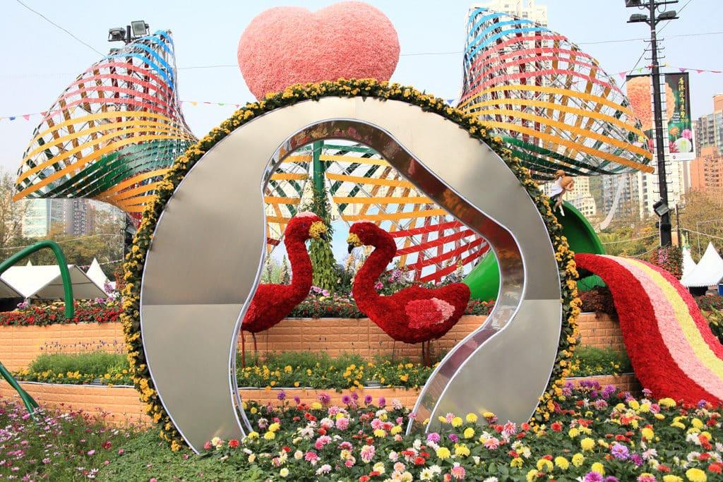 香港花展2019:大紅花為主題花 場內會展出精緻的園景設計。