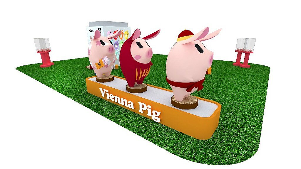 life@KCC‧韓國Vienna Pig Farms 新春藝術園:三隻可愛度爆燈的 1.3 米高 3D 版粉嫩巨豬豎立於 life@KCC 綠欣上,讓大家拍照打卡。