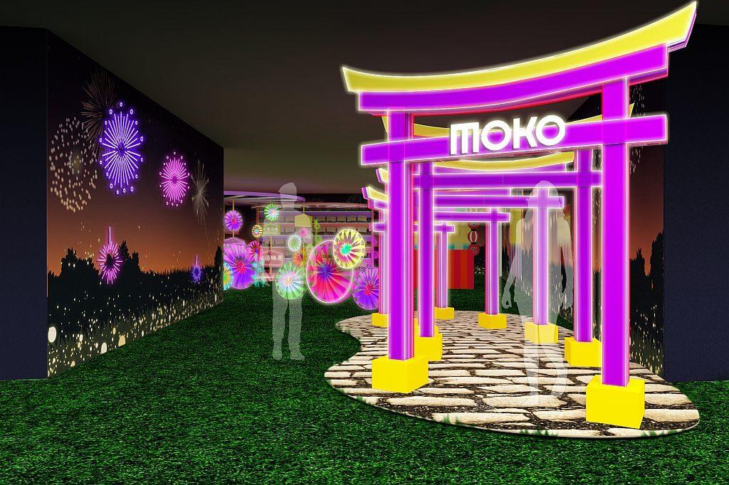 新世紀廣場 MOKO 鳥居隧道:由五個層梯式鳥居並列而成的螢光隧道