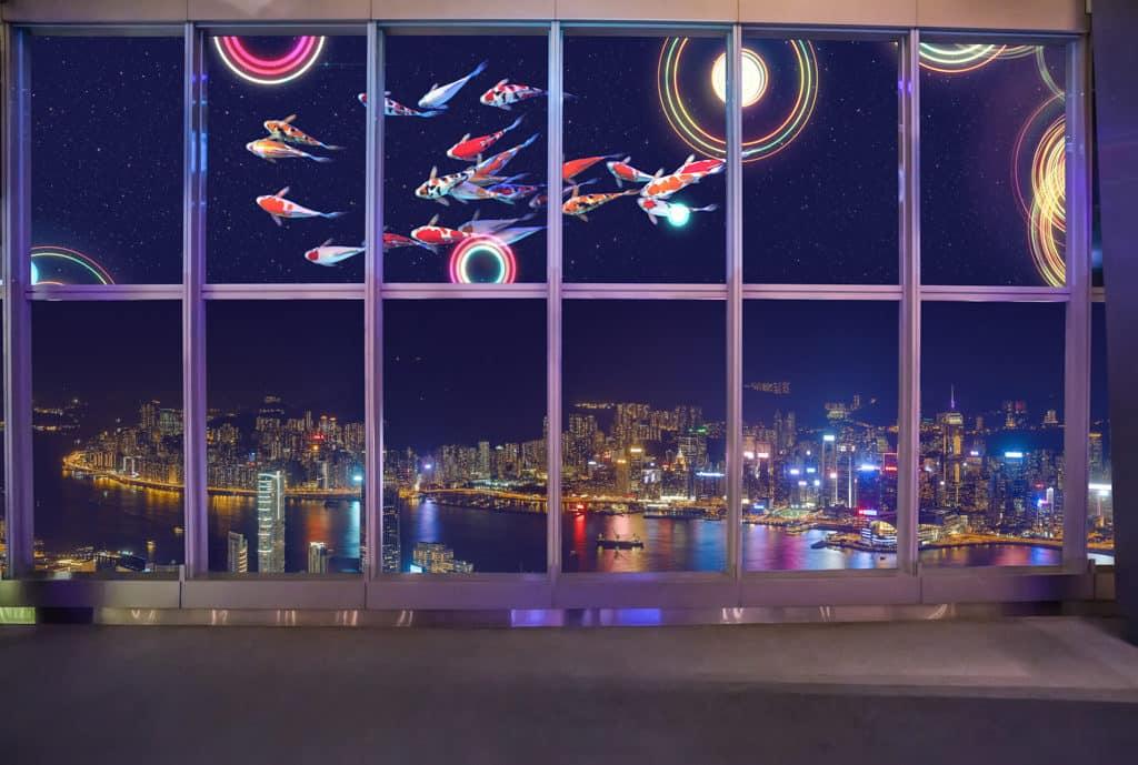 天際100/Sky100:花開富貴在天際 「愛在天際」光影匯演當中出現鯉魚的立體動畫。