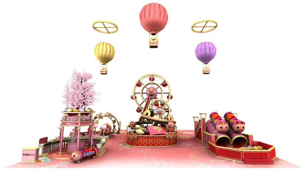 屯門市廣場:「新春遊樂園」萬樂珠主題裝置 豬來運轉摩天輪