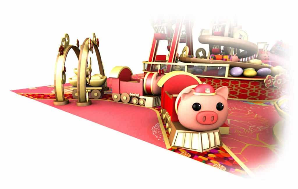 屯門市廣場:「新春遊樂園」萬樂珠主題裝置 金銀滿屋小豬火車