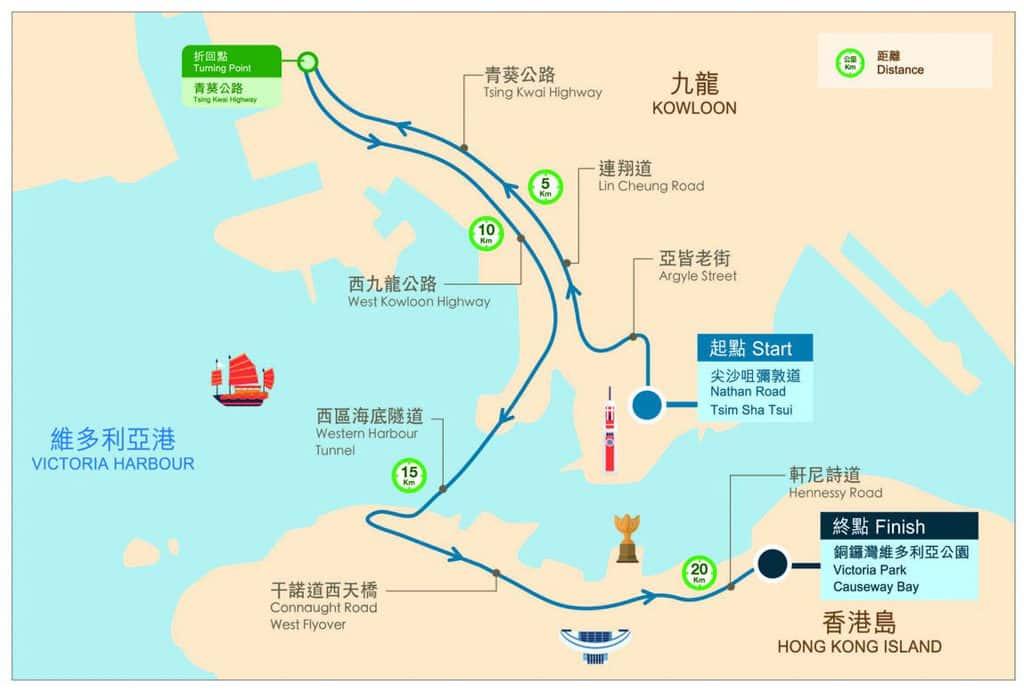 渣打香港馬拉松 2019 半馬賽事路線