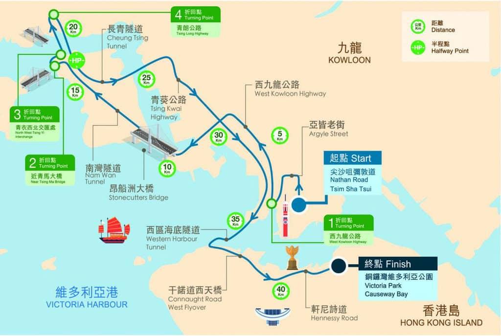 渣打香港馬拉松 2019 全馬賽事路線