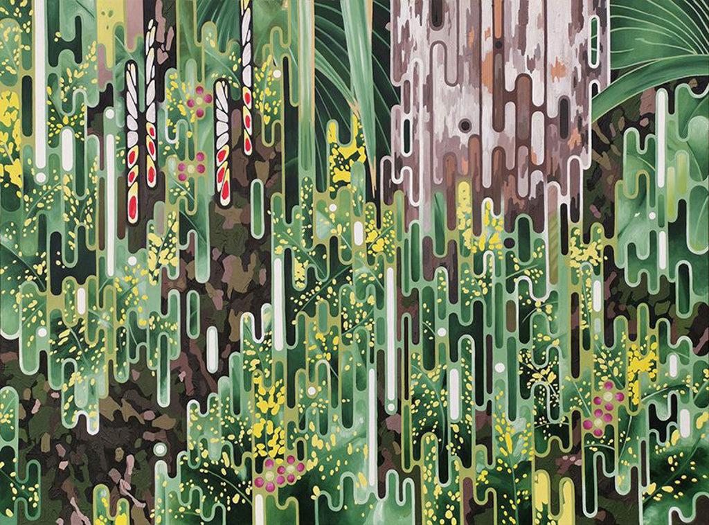 「液化」梁兆康個人畫展:尖沙咀文化中心 液體狀及互鎖線條混合出各種圖案。