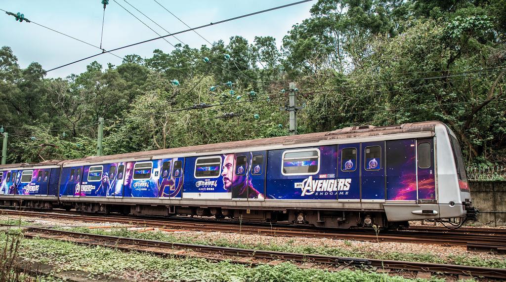 復仇者聯盟列車登陸港鐵荃灣線 香港首架復仇者聯盟列車登陸港鐵荃灣線。