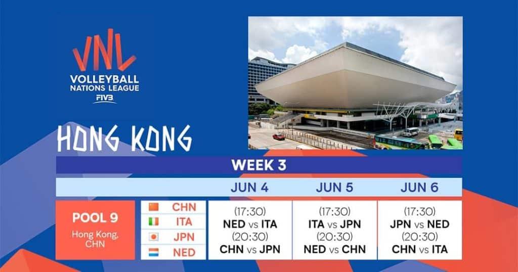 FIVB 世界女排聯賽 2019 香港站的參賽隊伍包括:中國、日本、荷蘭、意大利。