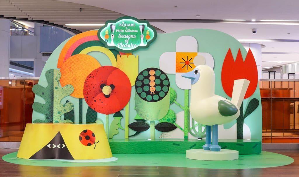"iSquare 國際廣場 x Philip Giordano ""Seasons of Pleasure""-造型趣緻的昆蟲穿梭在叢林間鳥語花香的浪漫。"