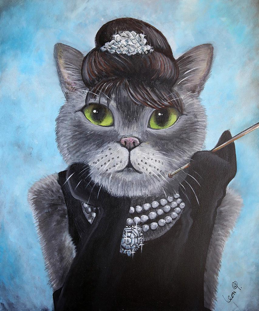 康怡廣場:三色貓春日世界 柯德烈夏萍造型的貓咪油畫