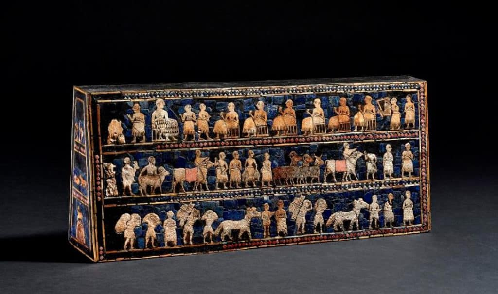 沙田文化博物館:百物看世界─大英博物館藏品展 烏爾軍旗 約公元前2500年 貝殼、青金石、紅石灰及瀝青 伊拉克