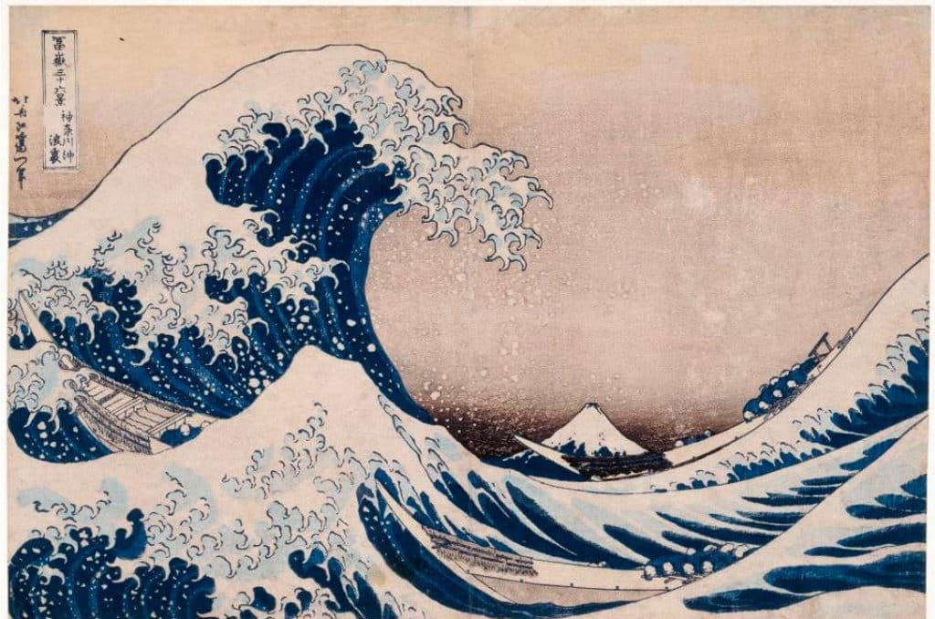 沙田文化博物館:百物看世界─大英博物館藏品展 葛飾北齋的《神奈川沖浪裏》 1831年 木刻板畫 日本