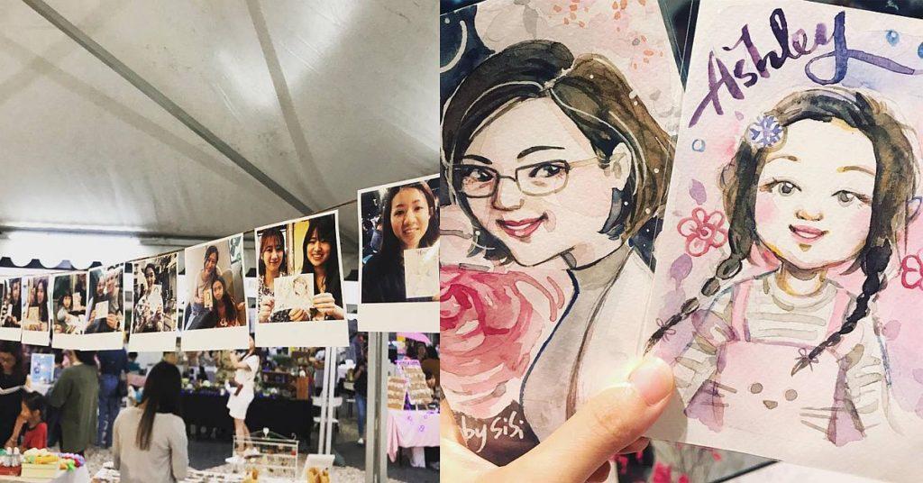 插畫師 Sisi Li 在 D2 Place 市集現場提供人像速畫服務,為遊人容貌漂上柔和的水彩。