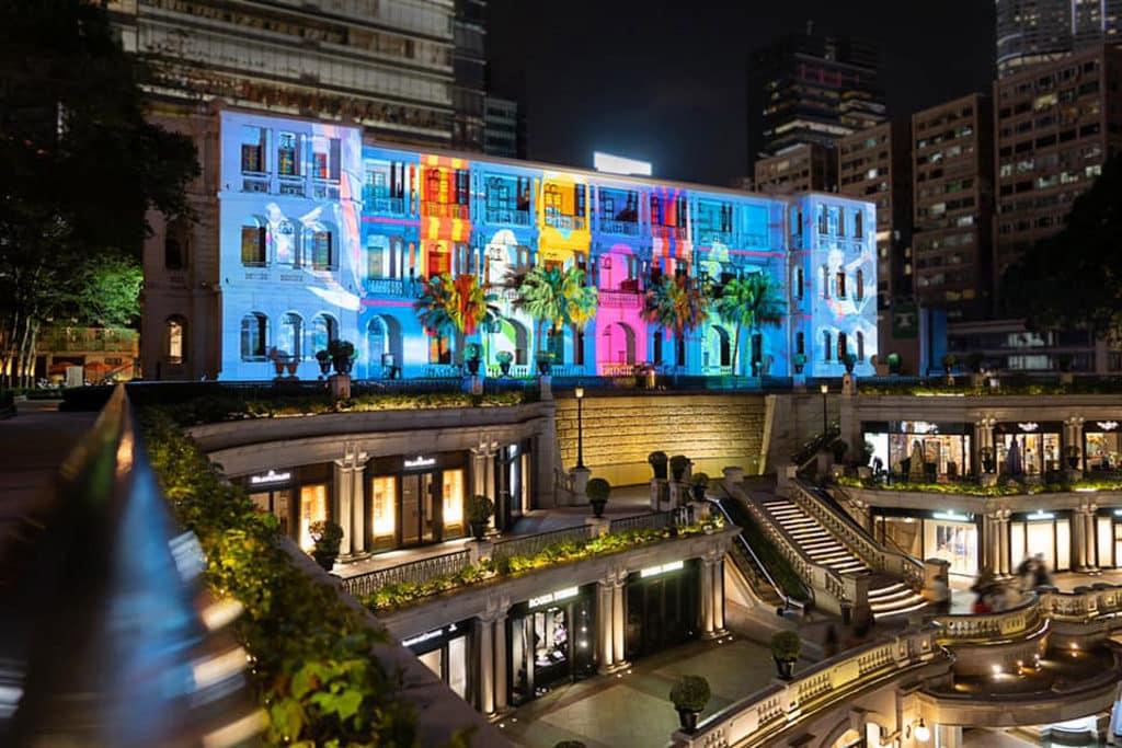 1881公館:海港‧故事3D光影滙演 3D 光影滙演「海港 ‧ 故事」投射在 1881 外牆上。