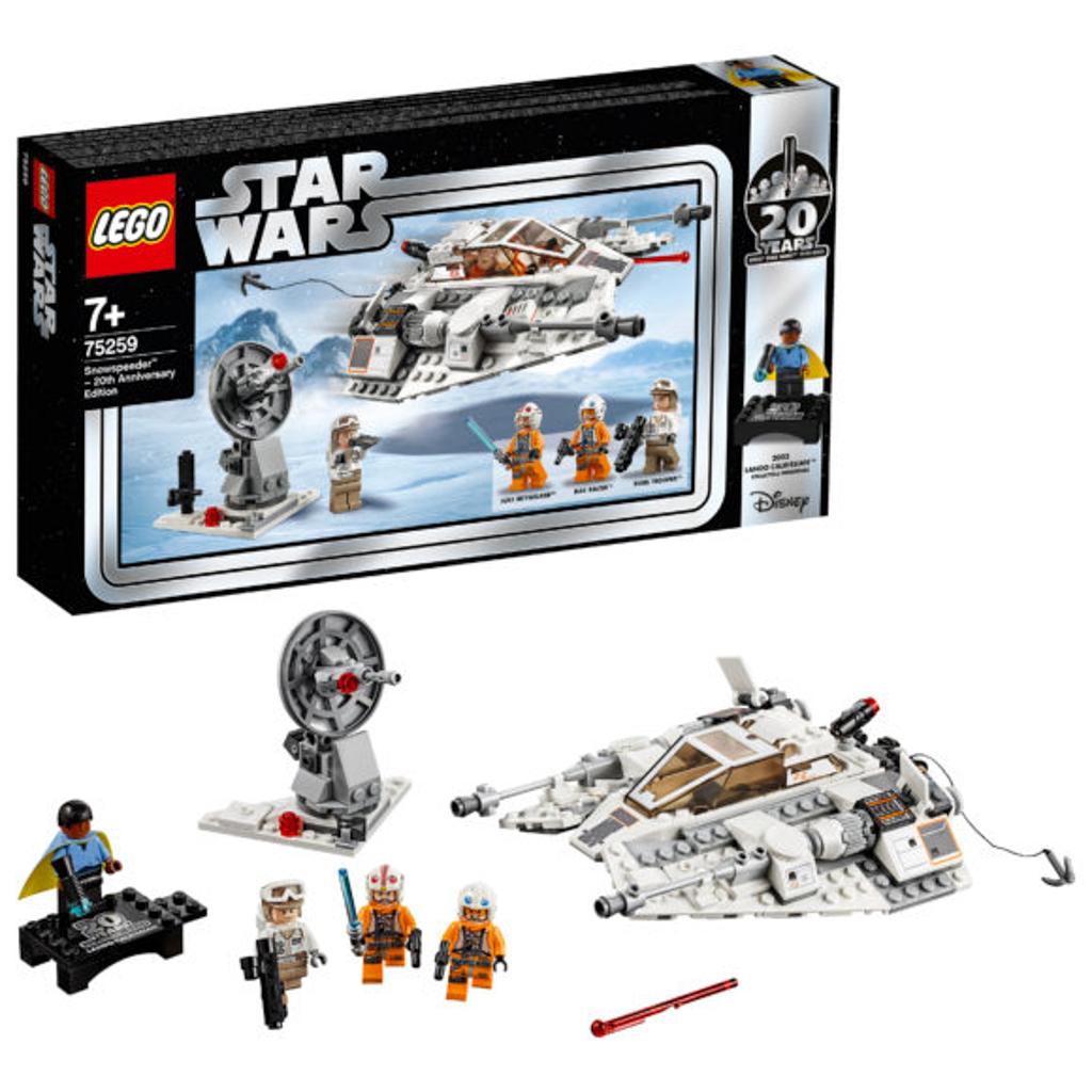 朗豪坊:LEGO X Starwars 20週年紀念展覽 75259 Snowspeeder 20th Anniversary Edition 《帝國大反擊》中的經典雪地戰機。 紀念人偶款:Lando Calrissian