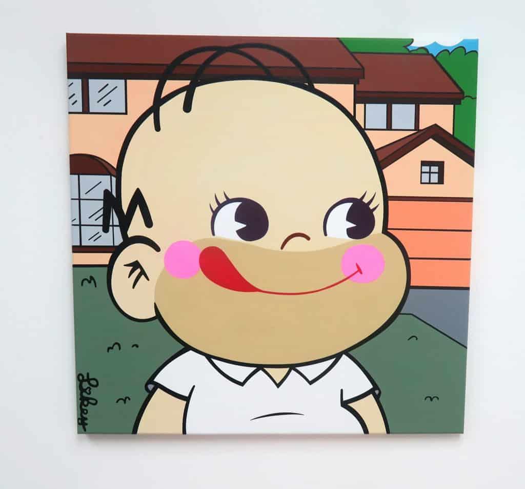"""海港城活動:""""Not Now But Right Now!""""Mr. Likey首個個人畫展 《Asian American》將「牛奶妹」、「牛奶仔」與《阿森一族》結合。"""