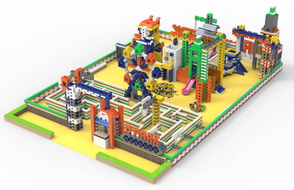"D‧PARK愉景新城:""Maker Park"" 兒童創造館 「MAKER PARK兒童創造館」使用了超過 2 萬顆巨型積木建砌而成。"