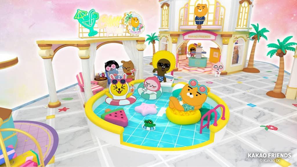 """朗豪坊活動:Kakao Friends""""Friends Summer Hotel"""" KAKAO FRIENDS 人物時而換上泳衣沙灘裝,自己跑去當住客。"""