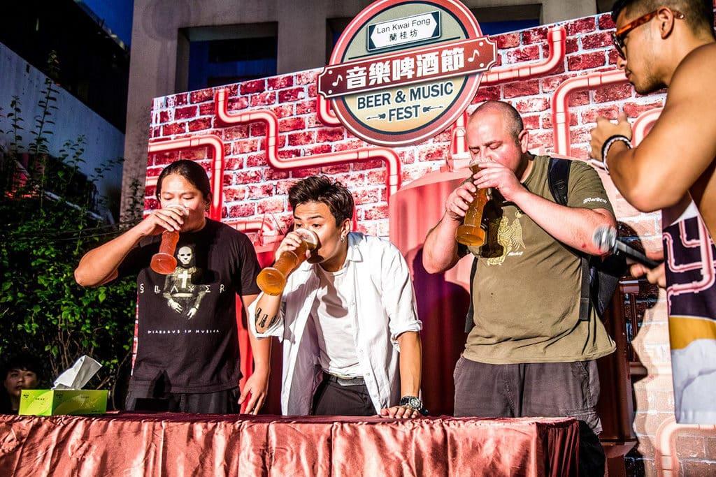 蘭桂坊Street Party街頭派對 蘭桂坊往年舉辦啤酒競飲大賽。