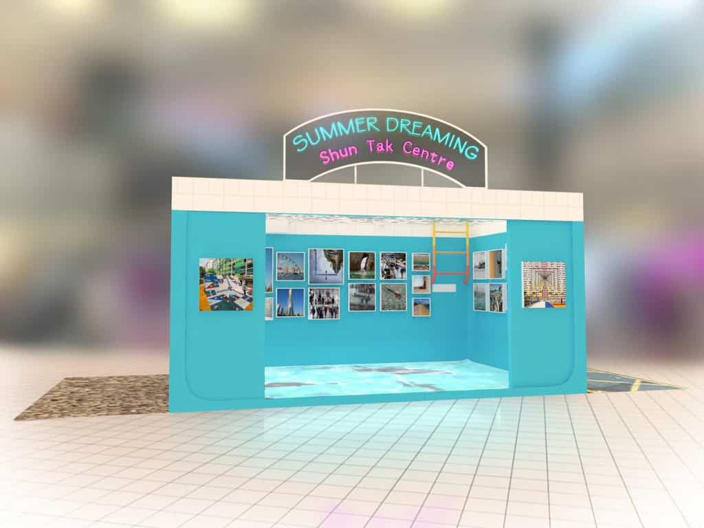 """信德中心:""""Summer Dreaming""""水世界裝置&超現實作品展 信德中心「SUMMER DREAMING」打造 5 米闊夢幻水世界裝置。"""