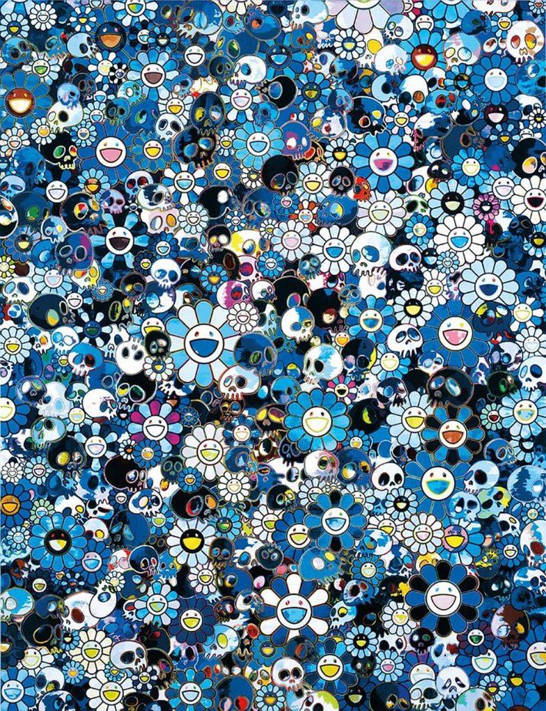 村上隆最具代表性作品:《花與骷髏(Blue Flower and Skulls)》,利用花朵和骷髏呈現喜悅和恐懼的矛盾,亦是他在創作中對視覺與心理層面上的探索。