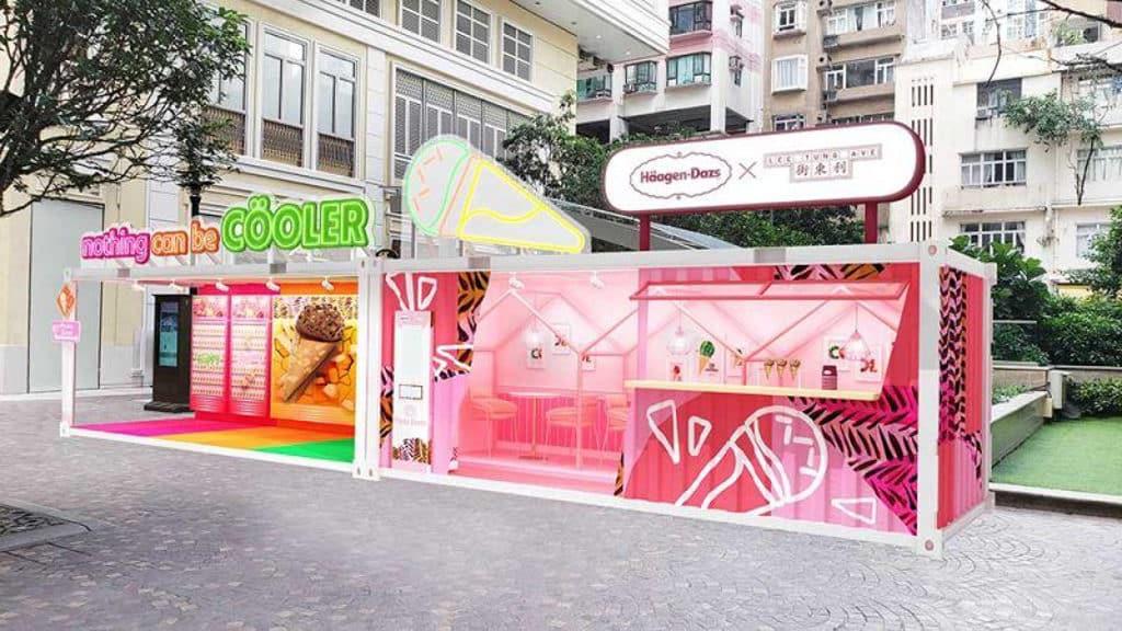 利東街:Häagen-Dazs「Nothing Can Be Cöoler夏日雪糕脆筒派對」場內設有多個大型裝置打卡位。