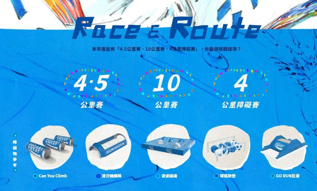 寶礦力跑Pocari Sweat Run Carnival 2019 比賽分為個人 10 公里組別、個人 4.5 公里組別及 4 公里障礙賽。