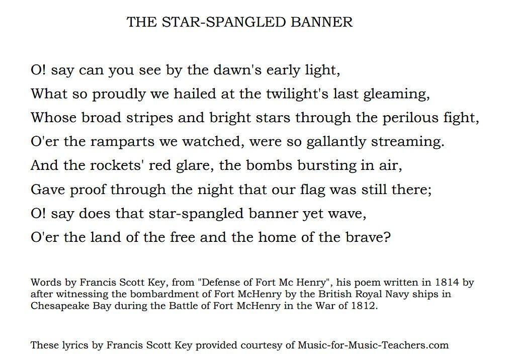 9.8 歌詞|美國國歌《星條旗之歌(The Star-Spangled Banner)》的歌詞。