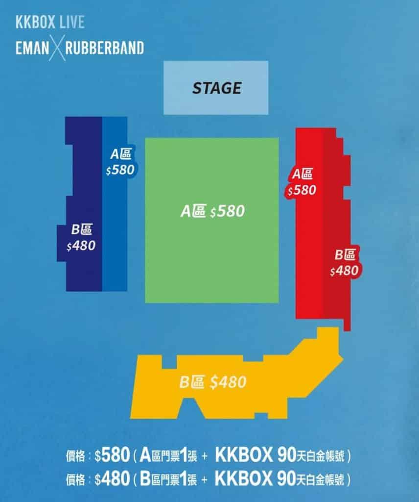 麥花臣場館:KKBOX LIVE: Eman x RubberBand 「KKBOX LIVE: Eman x RubberBand」門票分為港幣 $480 及 $580。