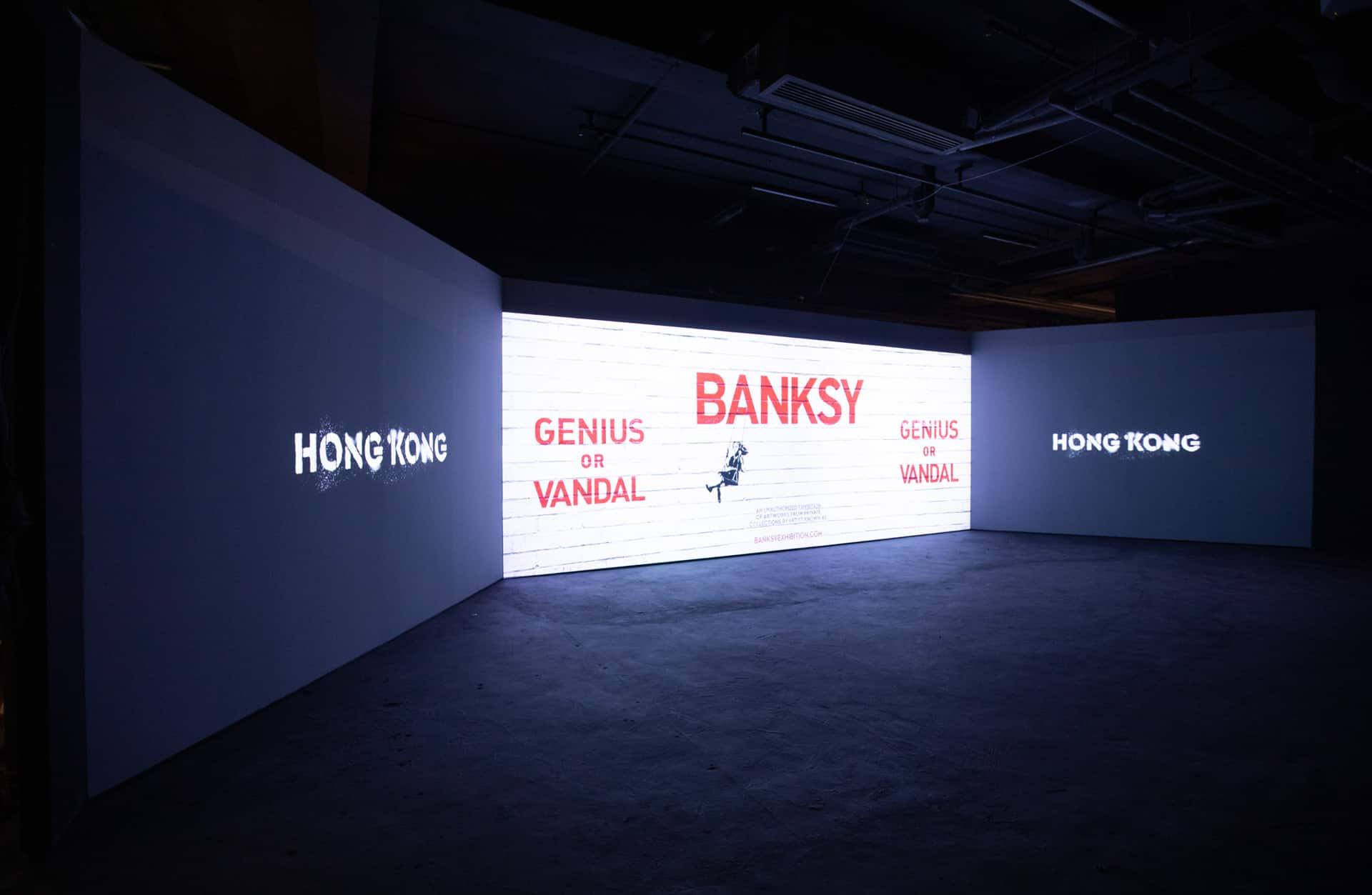 「Banksy: Genius or Vandal」世界巡迴展覽香港站 聲音及形象裝置透露Banksy撲朔迷離的身世。