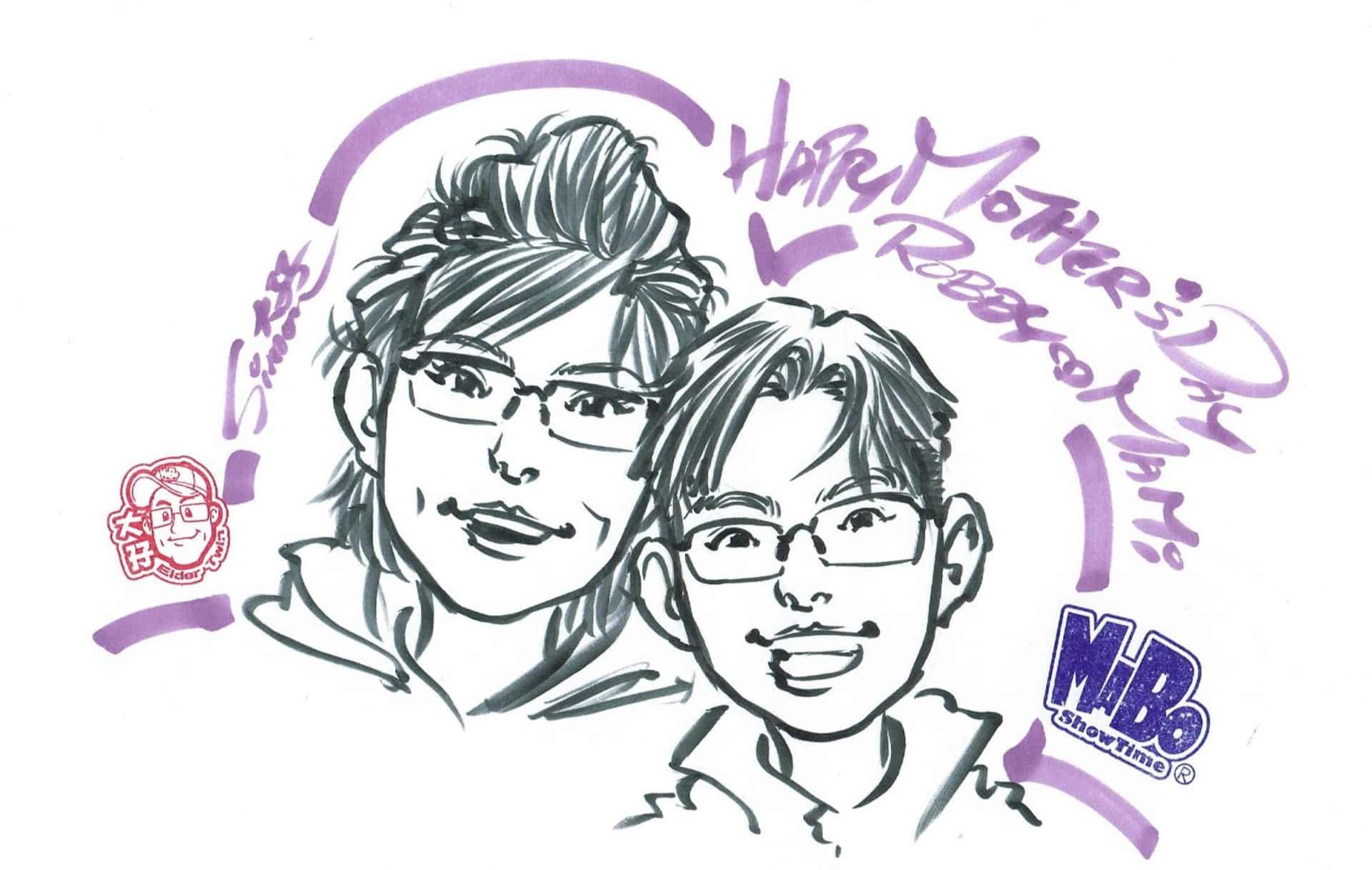 K11母親節限定網上購物平台 MABO Showtime 創作的速畫肖像