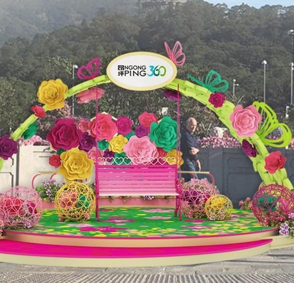 昂坪360:「花團錦簇好運來」巨型新春裝飾